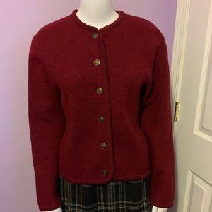 Vintage Dk Red Tally Ho Wool Cardigan Sweater S P